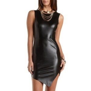 Charlotte Russe Asymmetrical Faux Leather Dress